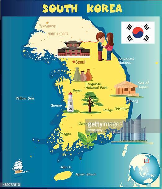 cartoon map of south korea - sea of japan or east sea stock illustrations, clip art, cartoons, & icons