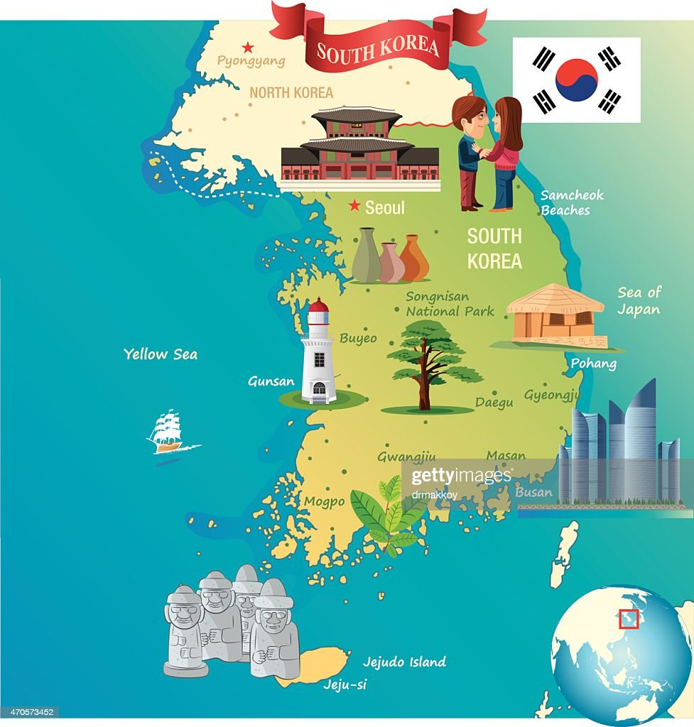 Cartoon Map Of South Korea stock illustration - Getty Images