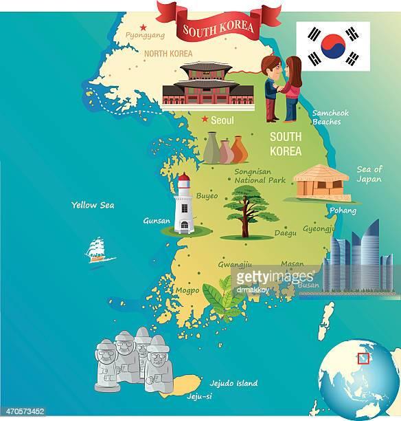 cartoon map of south korea - south korea stock illustrations, clip art, cartoons, & icons