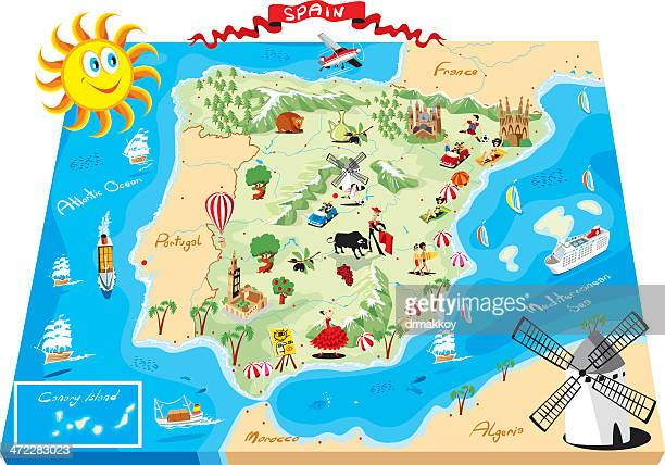 cartoon map of spain - bay of biscay stock illustrations, clip art, cartoons, & icons