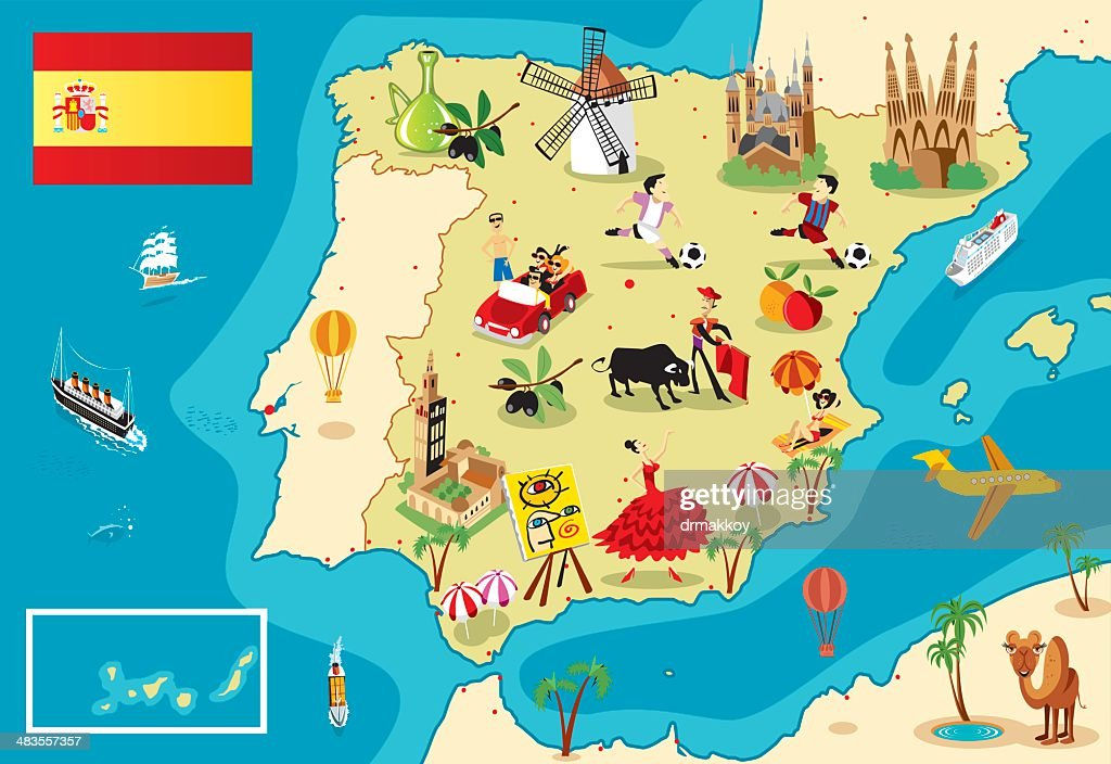 Cartoon Map Of Spain High Res Vector Graphic Getty Images