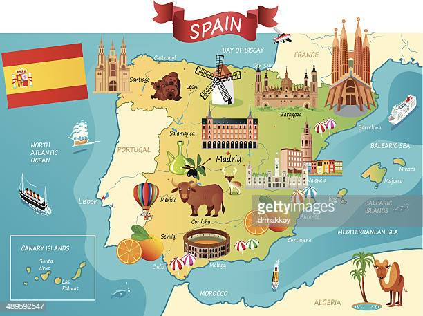 cartoon map of spain - seville stock illustrations, clip art, cartoons, & icons
