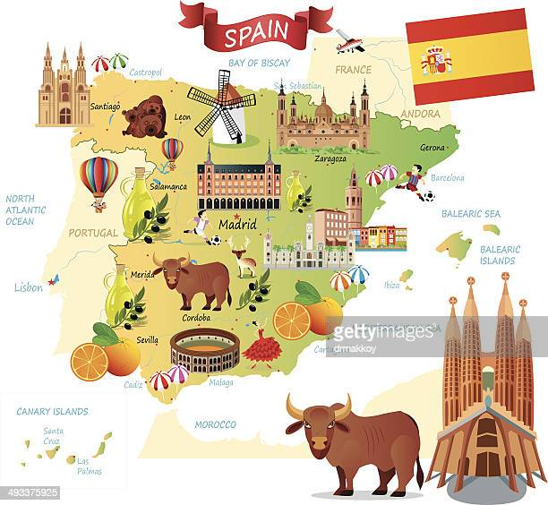 cartoon map of spain - valencia spain stock illustrations