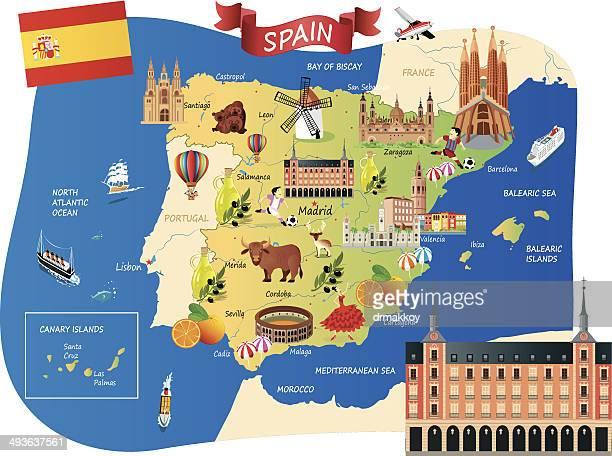 ilustrações, clipart, desenhos animados e ícones de desenho mapa da espanha - cabo verde