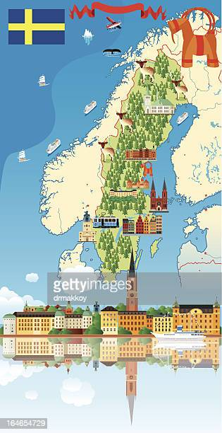 Cartoon map of Sweden