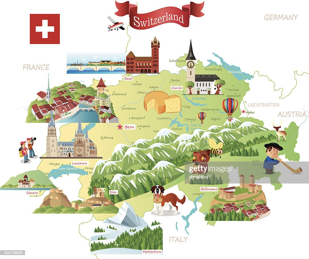 Cartoon Map Of Switzerland Vector Art Getty Images