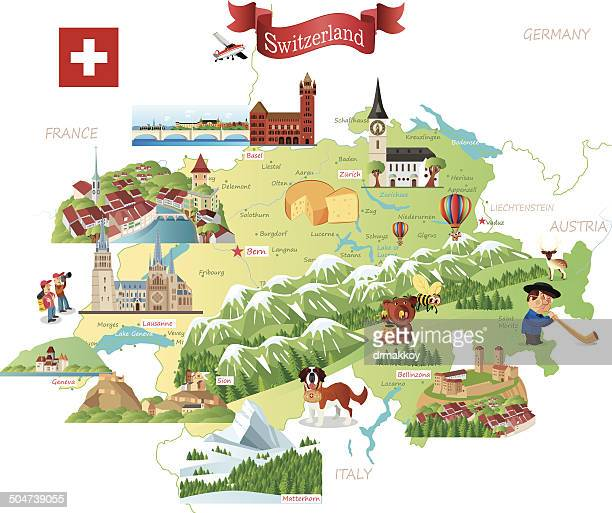 cartoon map of switzerland - switzerland stock illustrations