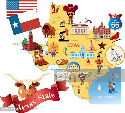 Cartoon Map Of Texas Vector Art Getty Images - Cartoon map of the us