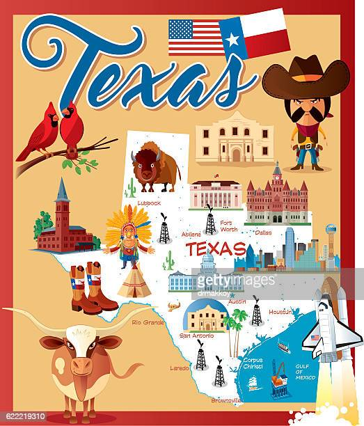 cartoon map of texas - texas stock illustrations