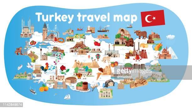 トルコの漫画地図 - ネヴシェヒル県点のイラスト素材/クリップアート素材/マンガ素材/アイコン素材