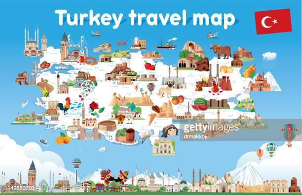 karikaturenkarte von turkey - türkei stock-grafiken, -clipart, -cartoons und -symbole