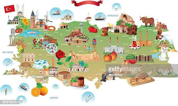 Cartoon map of Turkey