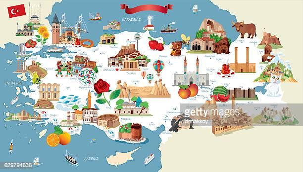 cartoon map of turkey - turkey middle east stock illustrations