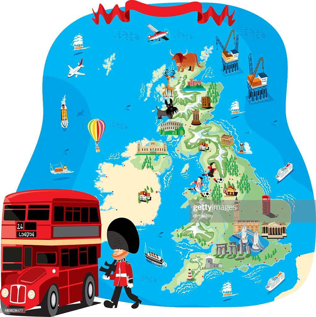 Cartoon map of UK : stock illustration