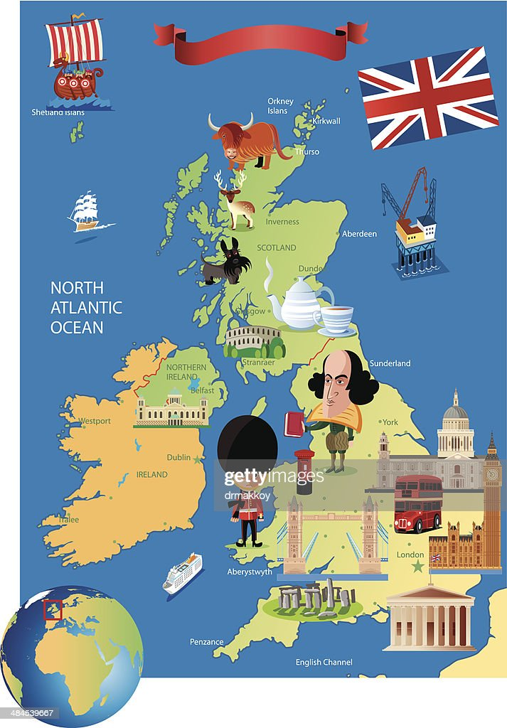 Cartoon map of UK : stock illustration