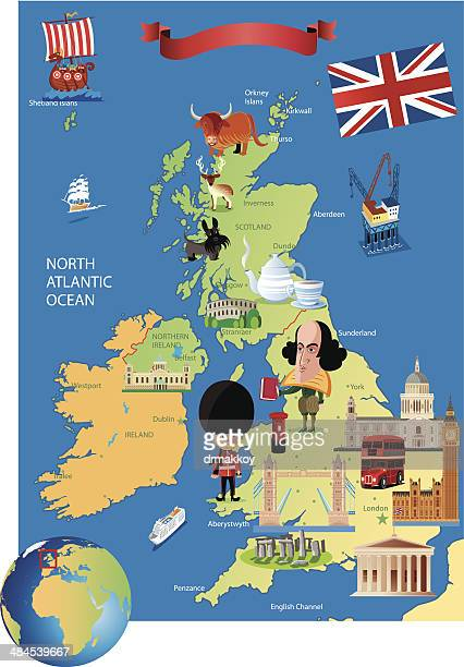 Cartoon map of UK