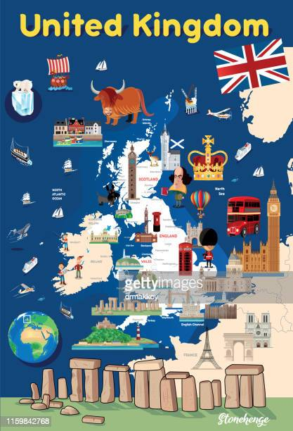 cartoon map of united kingdom - megalith stock illustrations, clip art, cartoons, & icons
