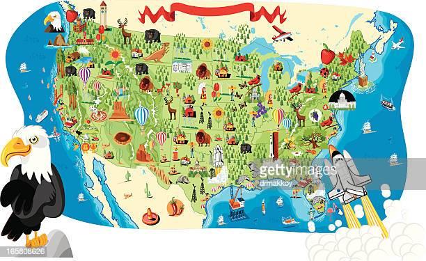 cartoon map of usa - washington state stock illustrations