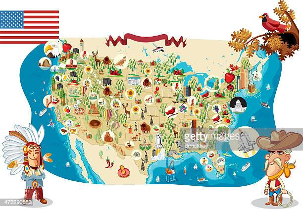cartoon map of usa - indigenous north american culture stock illustrations, clip art, cartoons, & icons