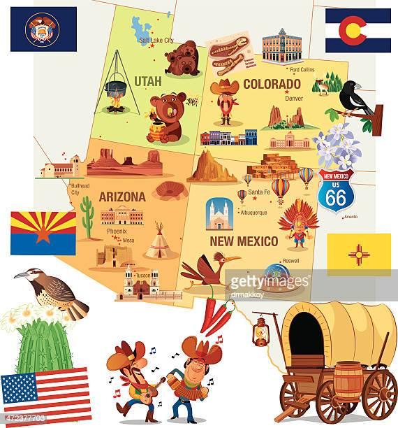 cartoon map of usa - arizona stock illustrations