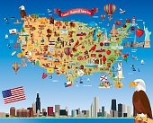 Cartoon map of USA