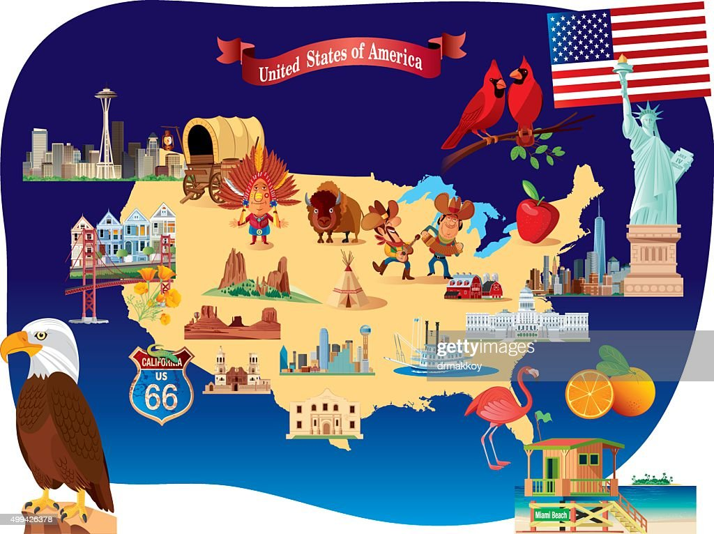 Cartoon Map Of Usa Stock Vector Getty Images - Cartoon-map-of-the-us