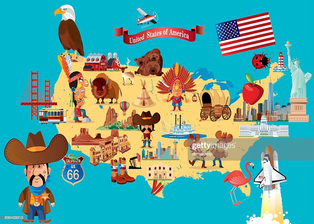Cartoon Map Of Usa Vector Art Getty Images