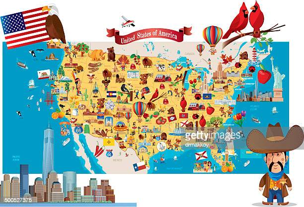 cartoon map of usa - utah stock illustrations, clip art, cartoons, & icons