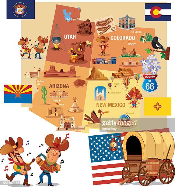 cartoon map of usa - new mexico stock illustrations