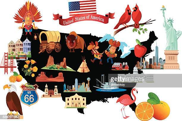 Cartoon map of USA