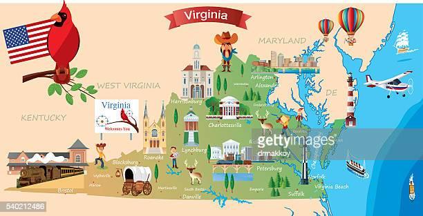 cartoon map of virginia - arlington virginia stock illustrations