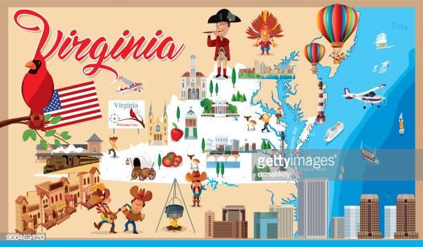 cartoon map of virginia - virginia stock illustrations, clip art, cartoons, & icons