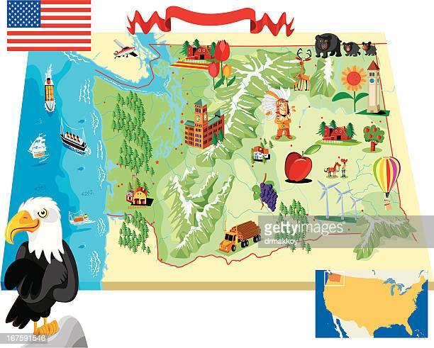 ilustrações de stock, clip art, desenhos animados e ícones de mulher mapa do estado de washington - washington state