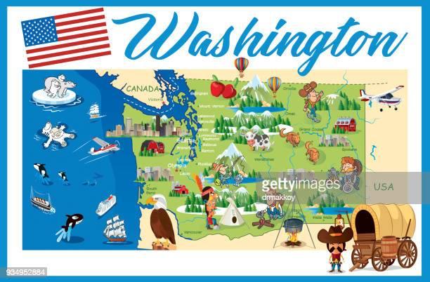 cartoon map of washington - washington state stock illustrations
