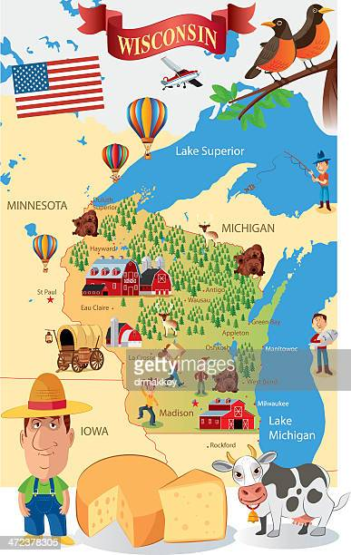 Cartoon Map of Wisconsin