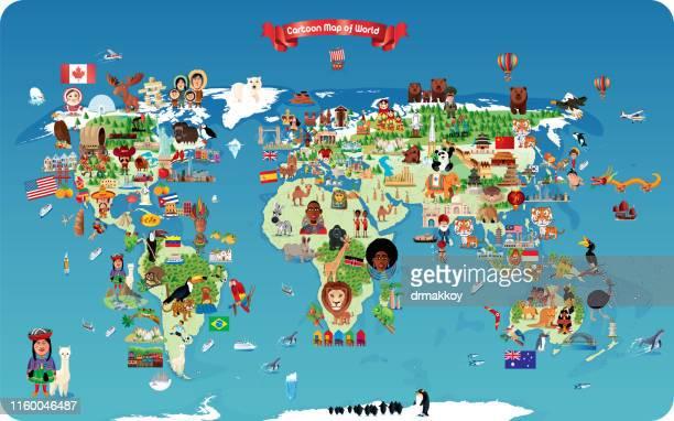 世界の漫画の地図 - 首都点のイラスト素材/クリップアート素材/マンガ素材/アイコン素材