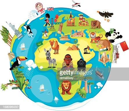 Flat world map and six globe showing different angles vector art keywords sciox Images