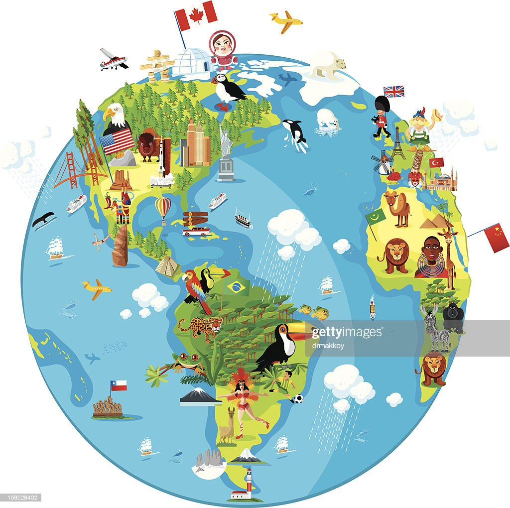 Cartoon map of world vector art getty images cartoon map of world america sciox Image collections