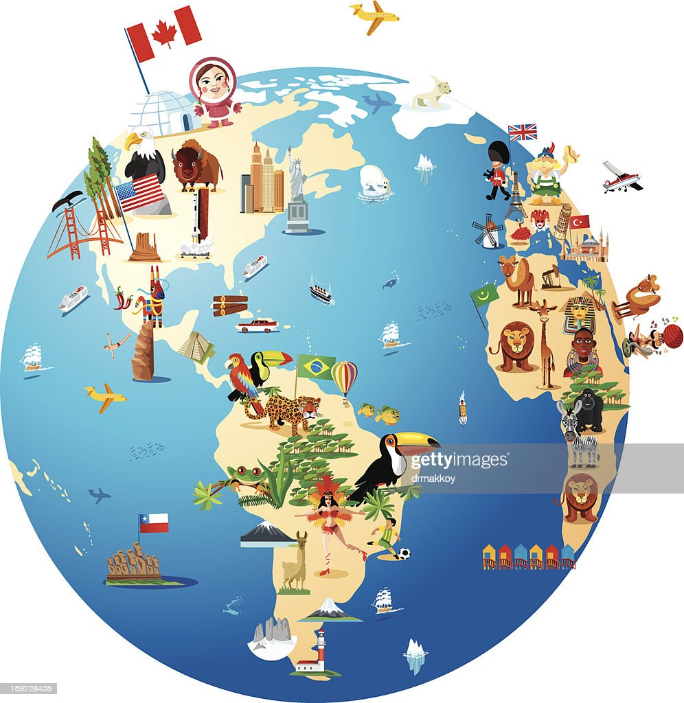 Cartoon map of world vector art getty images cartoon map of world vector art gumiabroncs Gallery