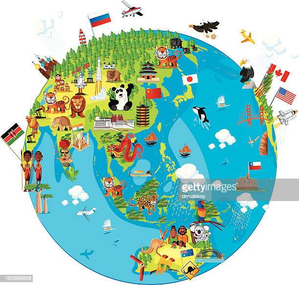 Cartoon map of World (Asia)