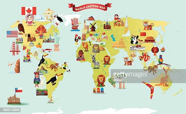 cartoon map of world - madagascar stock illustrations, clip art, cartoons, & icons