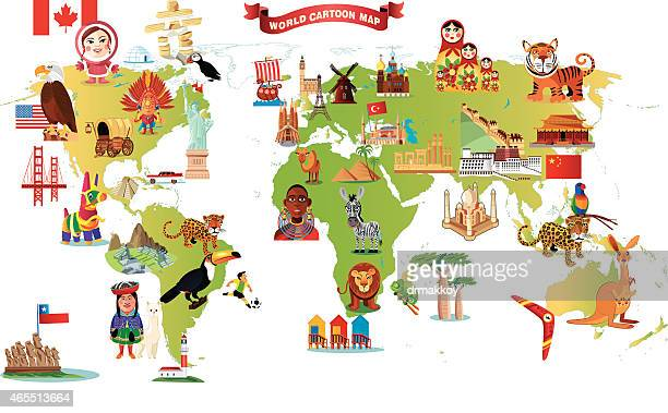 cartoon map of world - iranian culture stock illustrations, clip art, cartoons, & icons