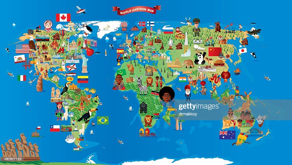 Cartoon map of World : Stock Illustration