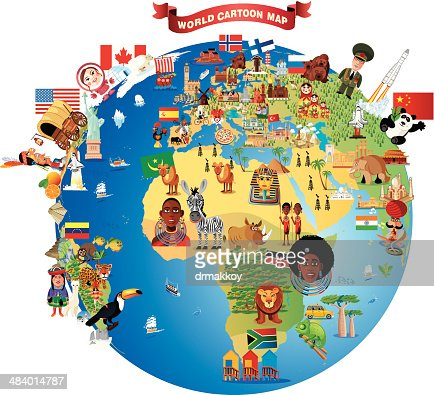 Cartoon map of world vector art getty images keywords gumiabroncs Gallery