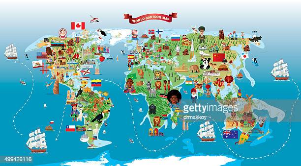 cartoon map of world - famous place stock illustrations