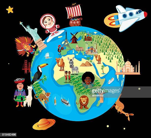cartoon map of world - unesco world heritage site stock illustrations
