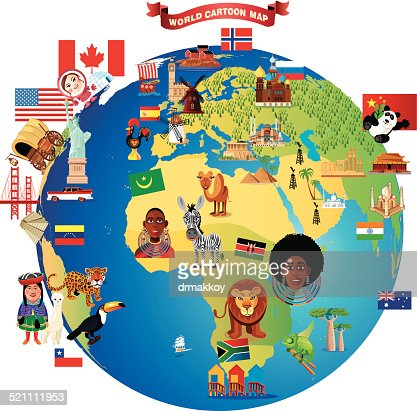 Cartoon map of world vector art getty images keywords gumiabroncs Images