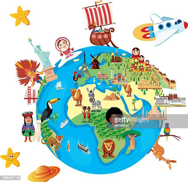 cartoon map of world - tours france stock illustrations, clip art, cartoons, & icons