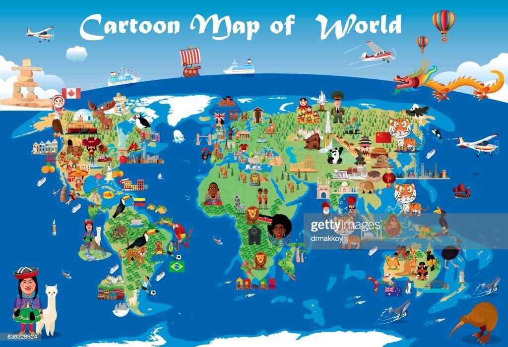 Cartoon map of world : stock illustration