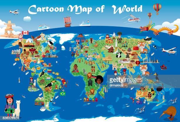 cartoon map of world - discovery stock illustrations, clip art, cartoons, & icons